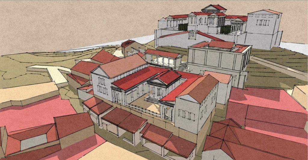 Munigua – Virtuelle Rekonstruktion der Stadt, Blick von Ost. © DAI
