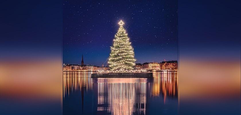 Hamburg, Binnenalster (c) Daniel Platz: Weihnachtstanne mit 1200 Lichtern...